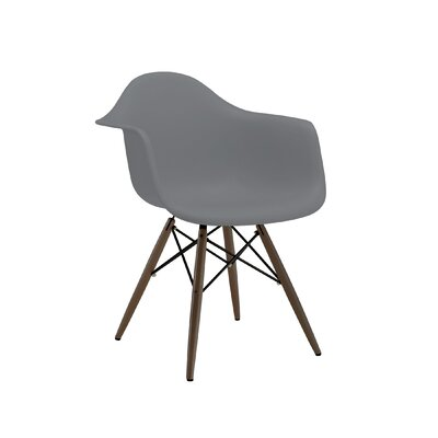Trige Solid Wood Dining Chair Seat Finish: Dark Grey, Leg Finish: Walnut