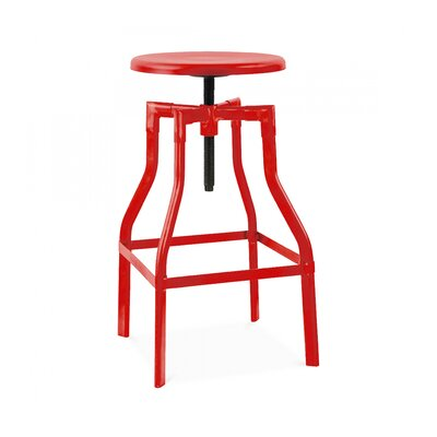 Machinist Adjustable Height Swivel Bar Stool Finish: Glossy Red