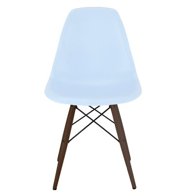 Trige Solid Wood Dining Chair Frame Color: Walnut, Seat Color: Baby Blue