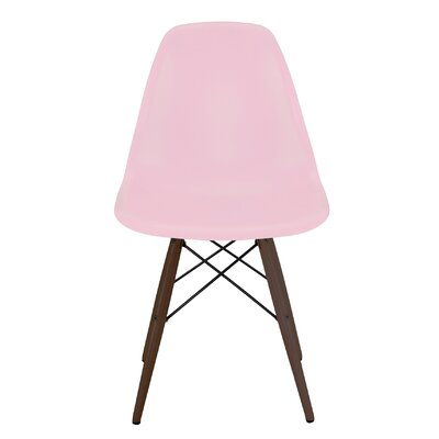 Trige Solid Wood Dining Chair Frame Color: Walnut, Seat Color: Baby Pink