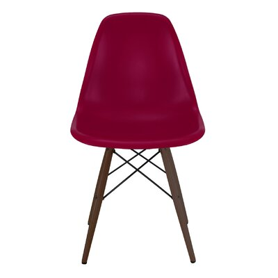 Trige Solid Wood Dining Chair Frame Color: Walnut, Seat Color: Claret