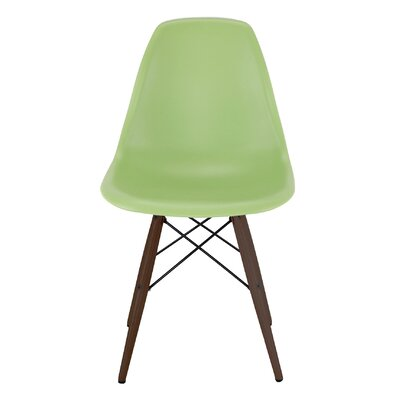 Trige Solid Wood Dining Chair Frame Color: Walnut, Seat Color: Lorem Green