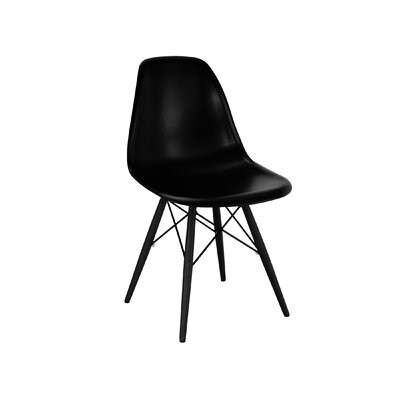 Trige Solid Wood Dining Chair Finish: Black, Seat Color: Black