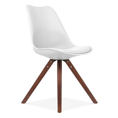 Side Chair Finish: Natural, Upholstery: White