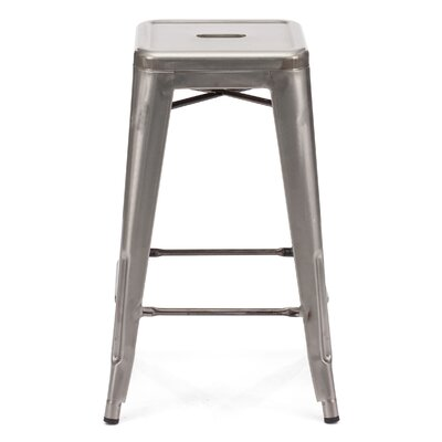 Halie 26 inch Bar Stool Finish: Clear Gunmetal