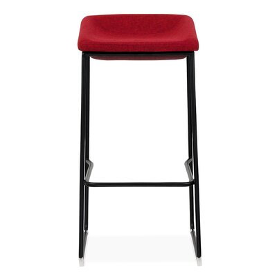 30 Bar Stool Base Finish: Black, Upholstery: Blue