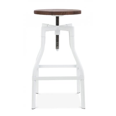Machinist Adjustable Height Swivel Bar Stool Finish: Glossy White