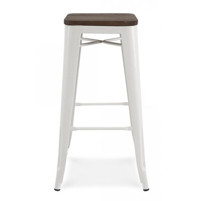 Halie 30 inch Bar Stool Base Finish: Glossy White
