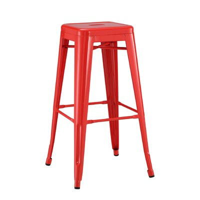 Halie 30 Bar Stool Finish: Glossy Red