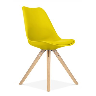 Side Chair Finish: Natural, Upholstery: Yellow