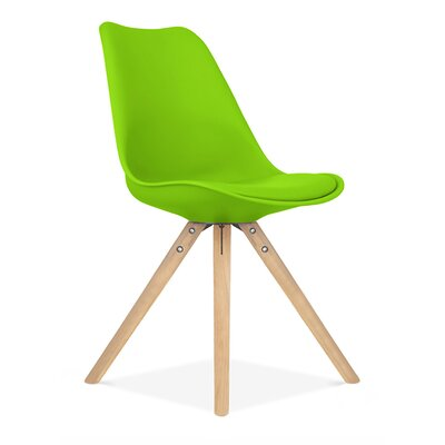 Side Chair Finish: Natural, Upholstery: Green