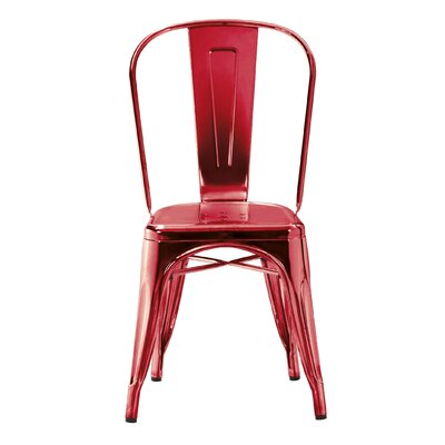 Halie Side Chair Finish: Chrome Wine Red