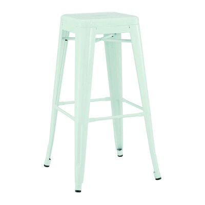 Halie Steel Barstool (Set of 4) Finish: Matte Mint