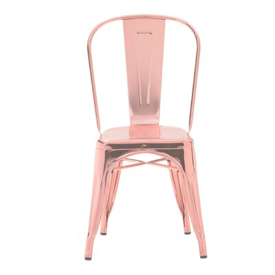 Halie Steel Side Chair Finish: Light Rose Gold