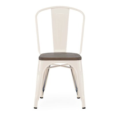 Halie Matte Mint Light Elm Wood Side Chair (Set of 4) Finish: Glossy Cream