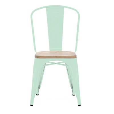 Halie Matte Mint Light Elm Wood Side Chair (Set of 4) Finish: Matte Mint