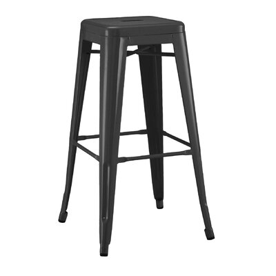Halie Steel Barstool (Set of 4) Finish: Matte Black