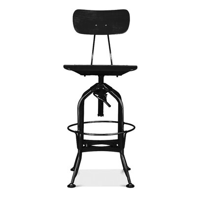 Desrochers Adjustable Height Swivel Bar Stool Finish: Black