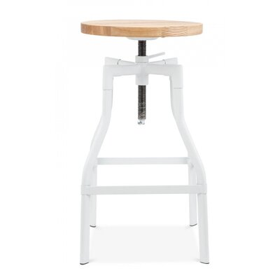 Machinist Adjustable Height Swivel Bar Stool Finish: White