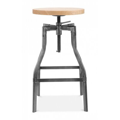 Machinist Adjustable Height Swivel Bar Stool Finish: Dark Gunmetal
