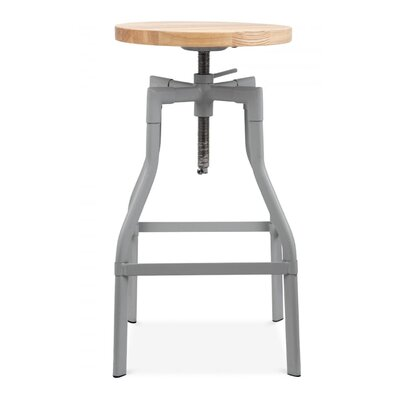 Machinist Adjustable Height Swivel Bar Stool Finish: Gray
