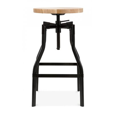 Machinist Adjustable Height Swivel Bar Stool Finish: Black
