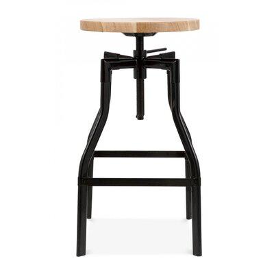Machinist Adjustable Height Swivel Bar Stool Finish: Black