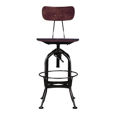 Toledo Adjustable Height Swivel Bar Stool Finish: Walnut/Black