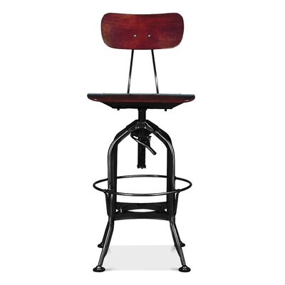 Desrochers Adjustable Height Swivel Bar Stool Finish: Red Walnut/Black