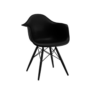 Trige Solid Wood Dining Chair Leg Finish: Black, Seat Finish: Black