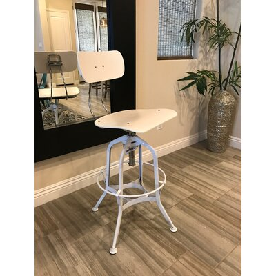 Desrochers Adjustable Height Swivel Bar Stool Finish: White/Chrome