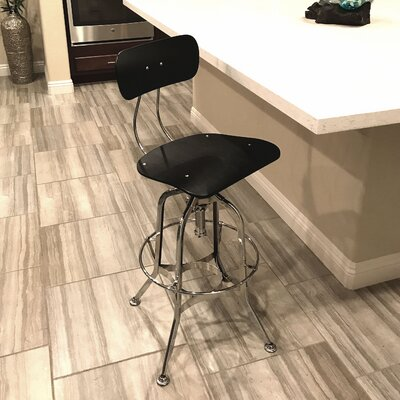 Desrochers Adjustable Height Swivel Bar Stool Finish: Black/Chrome