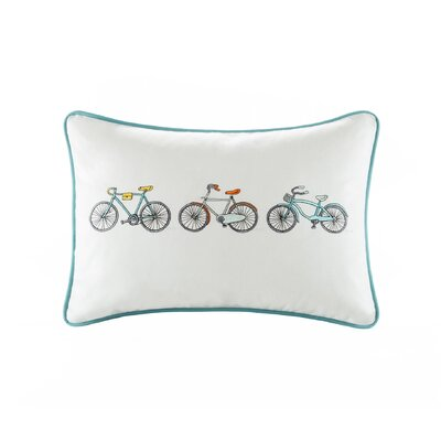 Klaus Bicycle Embroidered Cotton Lumbar Pillow