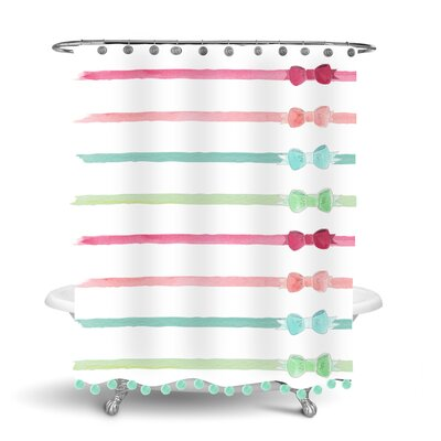 Simply Sudsy Ribbons and Bows Pom Pom Shower Curtain