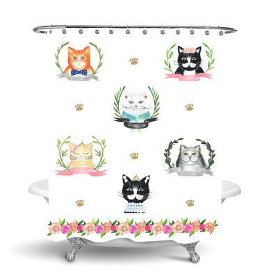 Simply Sudsy Pretty Kitty Shower Curtain 48152