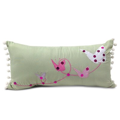 Butterfly Lumbar Sequins Applique Decorative Pillow With Pom Pom Fringe