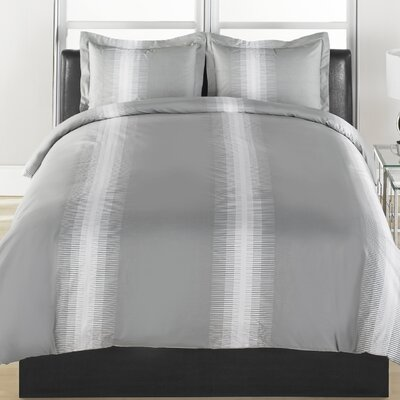 Grey Stripe 3 Piece Duvet Cover Set Size: Full/Queen