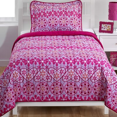 Crochet Hearts 2 Pieces Twin Quilt Set