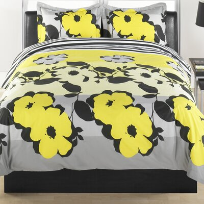 Flower Stripe 3 Piece Duvet Cover Set Size: King