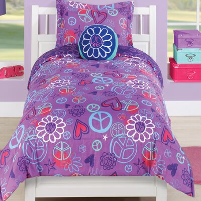 Peace and Love 2 Piece Comforter Set Size: Full