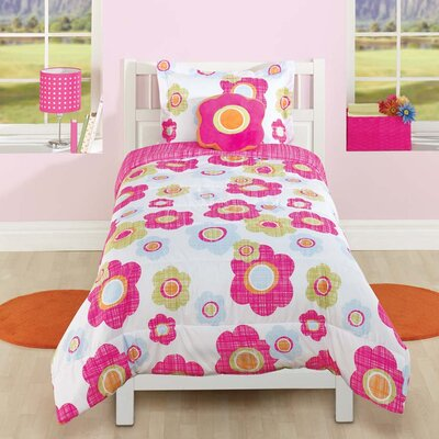 Textured Floral 2 Piece Comforter Set Size: Full