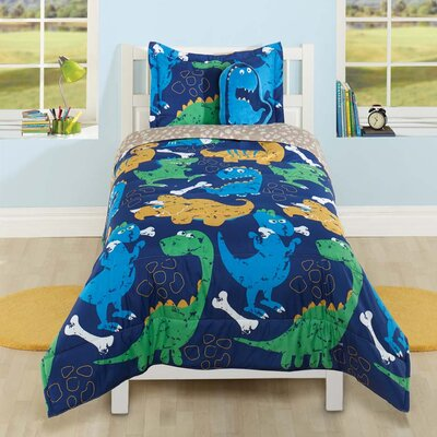 Funny Dinosaur 3 Piece Comforter Set Size: Twin
