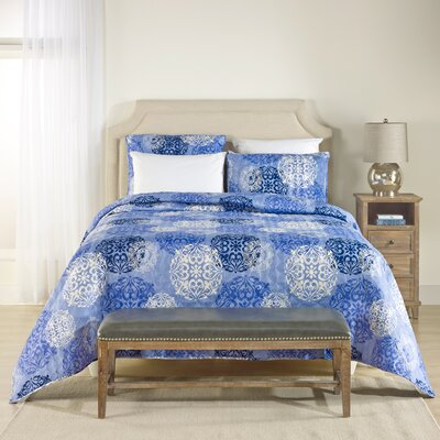 Medallion Damask Coverlet Set Size: Queen