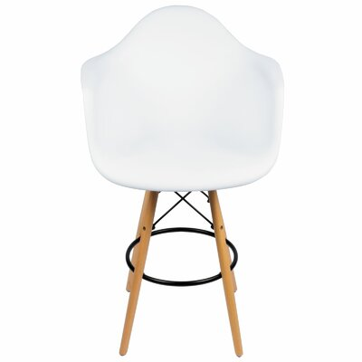 26 inch Bar Stool Upholstery: White