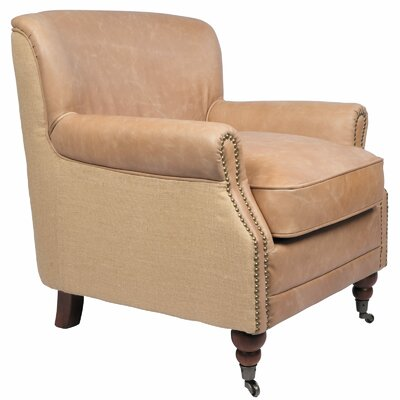 Antique Linen and Leather Occasional Armchair
