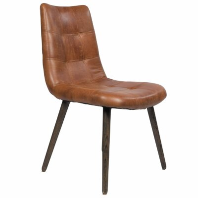 Alamo Genuine Leather Upholstered Dining Chair Upholstery Color: Brown