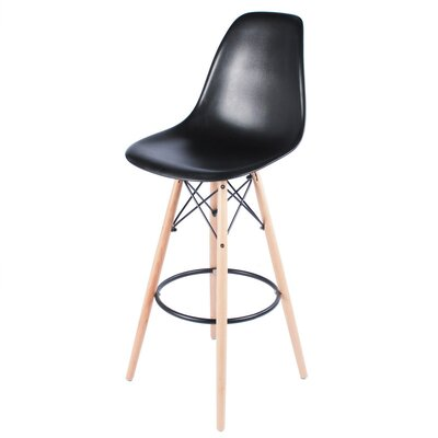 30.5 inch Bar Stool Upholstery: Black