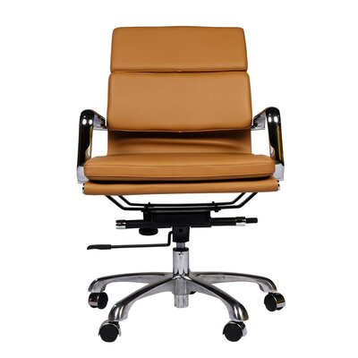 Mid-Back Leather Executive Office Chair with Arm Upholstery: Brown