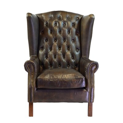 Old World Antique Leather Wingback Chair