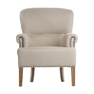 Occasional Antique White Linen Nailhead Trim Armchair
